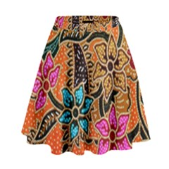 Colorful The Beautiful Of Art Indonesian Batik Pattern High Waist Skirt
