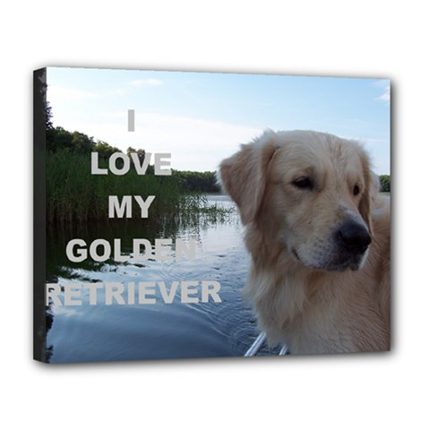 Golden Retriver Love W Pic Canvas 14  x 11