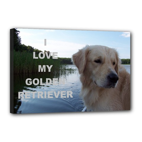 Golden Retriver Love W Pic Canvas 18  x 12