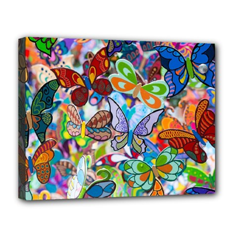 Color Butterfly Texture Canvas 14  x 11