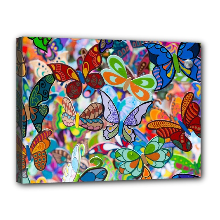 Color Butterfly Texture Canvas 16  x 12