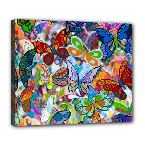 Color Butterfly Texture Deluxe Canvas 24  x 20