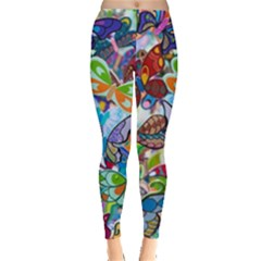 Color Butterfly Texture Leggings