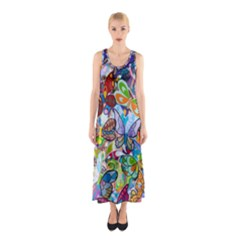 Color Butterfly Texture Sleeveless Maxi Dress