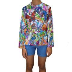 Color Butterfly Texture Kids  Long Sleeve Swimwear