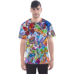 Color Butterfly Texture Men s Sport Mesh Tee