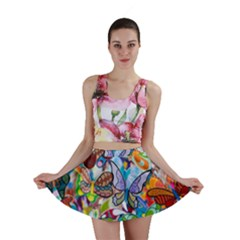 Color Butterfly Texture Mini Skirt