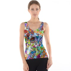 Color Butterfly Texture Tank Top