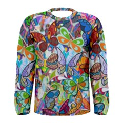 Color Butterfly Texture Men s Long Sleeve Tee
