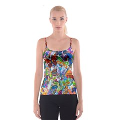 Color Butterfly Texture Spaghetti Strap Top
