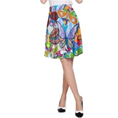 Color Butterfly Texture A-Line Skirt