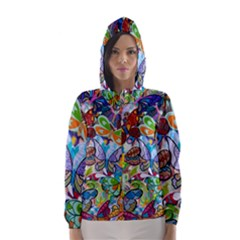 Color Butterfly Texture Hooded Wind Breaker (Women)