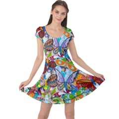 Color Butterfly Texture Cap Sleeve Dresses