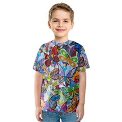 Color Butterfly Texture Kids  Sport Mesh Tee