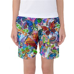 Color Butterfly Texture Women s Basketball Shorts