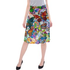 Color Butterfly Texture Midi Beach Skirt