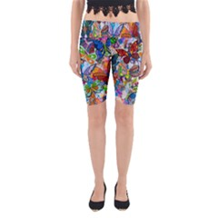 Color Butterfly Texture Yoga Cropped Leggings