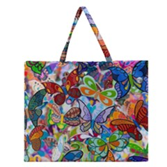 Color Butterfly Texture Zipper Large Tote Bag