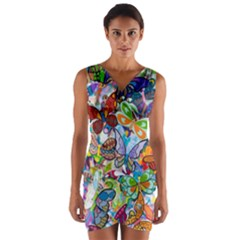 Color Butterfly Texture Wrap Front Bodycon Dress