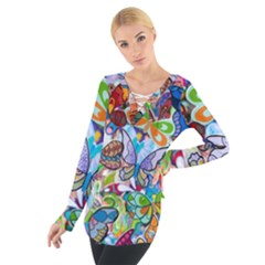 Color Butterfly Texture Women s Tie Up Tee
