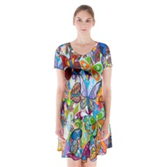 Color Butterfly Texture Short Sleeve V-neck Flare Dress