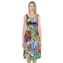 Color Butterfly Texture Midi Sleeveless Dress