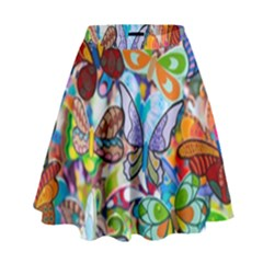 Color Butterfly Texture High Waist Skirt