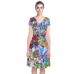 Color Butterfly Texture Short Sleeve Front Wrap Dress