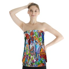 Color Butterfly Texture Strapless Top