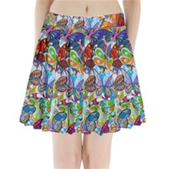 Color Butterfly Texture Pleated Mini Skirt