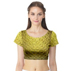 Patterns Gold Textures Short Sleeve Crop Top (Tight Fit)