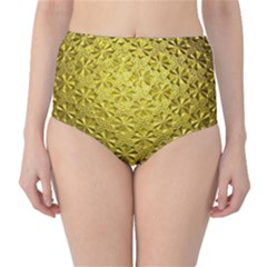 Patterns Gold Textures High-Waist Bikini Bottoms