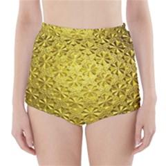 Patterns Gold Textures High-Waisted Bikini Bottoms