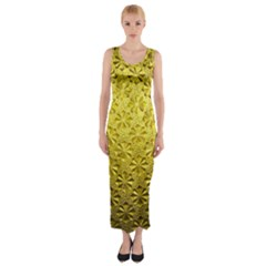 Patterns Gold Textures Fitted Maxi Dress