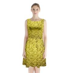 Patterns Gold Textures Sleeveless Chiffon Waist Tie Dress