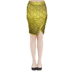 Patterns Gold Textures Midi Wrap Pencil Skirt