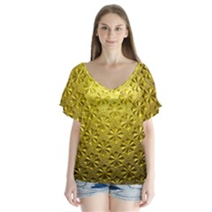 Patterns Gold Textures Flutter Sleeve Top