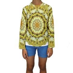 Fractal Flower Kids  Long Sleeve Swimwear