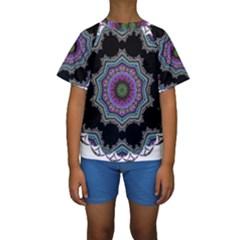 Fractal Lace Kids  Short Sleeve Swimwear