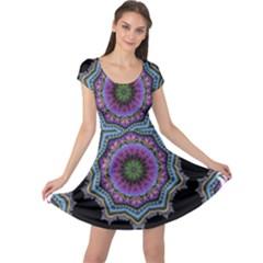 Fractal Lace Cap Sleeve Dresses
