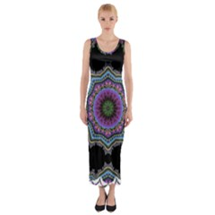 Fractal Lace Fitted Maxi Dress