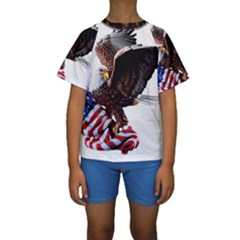 Independence Day United States Kids  Short Sleeve Swimwear