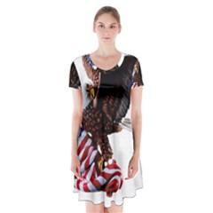 Independence Day United States Short Sleeve V Neck Flare Dress