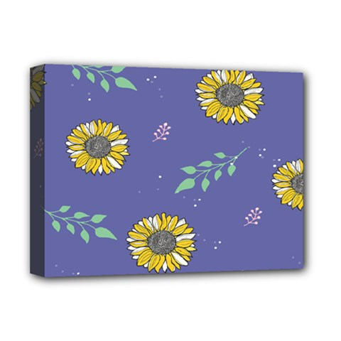 Floral Flower Rose Sunflower Star Leaf Pink Green Blue Yelllow Deluxe Canvas 16  x 12