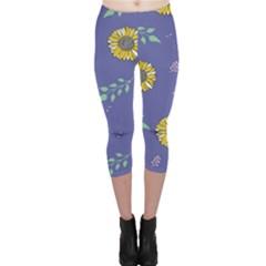 Floral Flower Rose Sunflower Star Leaf Pink Green Blue Yelllow Capri Leggings