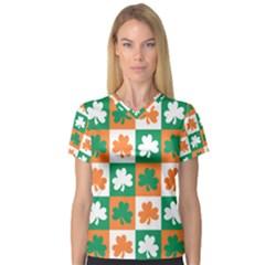 Ireland Leaf Vegetables Green Orange White Women s V-Neck Sport Mesh Tee