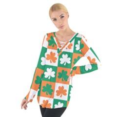 Ireland Leaf Vegetables Green Orange White Women s Tie Up Tee