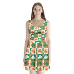 Ireland Leaf Vegetables Green Orange White Split Back Mini Dress