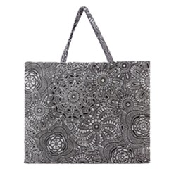 Flower Floral Rose Sunflower Black White Zipper Large Tote Bag