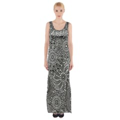 Flower Floral Rose Sunflower Black White Maxi Thigh Split Dress